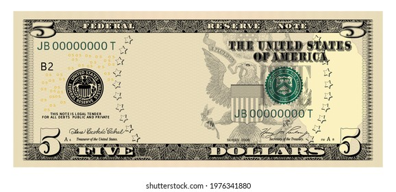 US Dollars 5 banknote  -American dollar bill cash money isolated on white background - five dollars