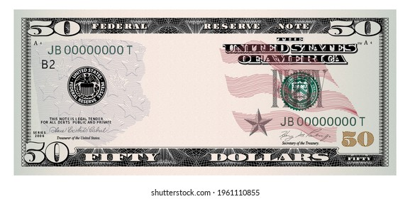 US Dollars 50 banknote -American dollar bill cash money isolated on white background.