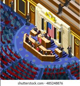 Us Election infographic Democrat Republican convention hall. Party presidential debate endorsement. Trump GOP opponent rally Flat senate congress tribune pedestal auditorium audience Vector Image