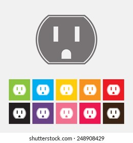 U.S. electric household outlet icon - Vector