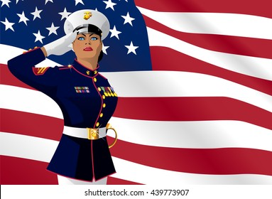 US female soldier saluting with the American Flag on the background