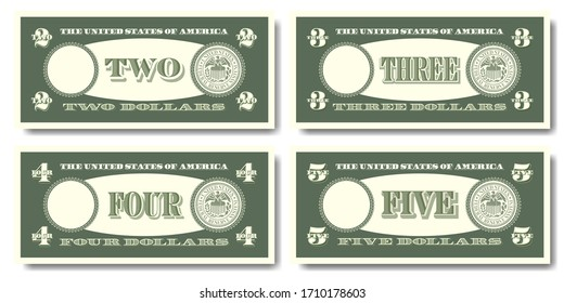 US fictitious green paper money in denominations of  two, three, four and five dollars Part one