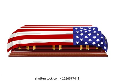 A US flag draped coffin for fallen soldiers, statesmen, head of state or veteran. Editable Clip Art,