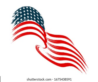 The US flag flies in the wind. Stylized on a white background. Vector illustration