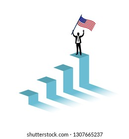 US flag graph and businessman illustration design graphic over a white background