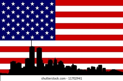 US Flag with New York in front