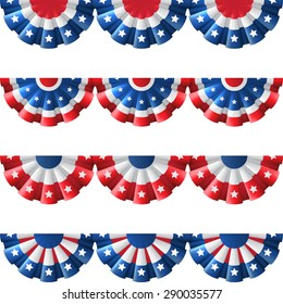 US flag round bunting decoration, isolated vector set for american Independence day celebration