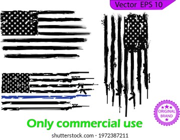 US flag set. Flag with Police Blue Line - Distressed and splash American flag. Flag with Police Blue and green army Line, Transparent background