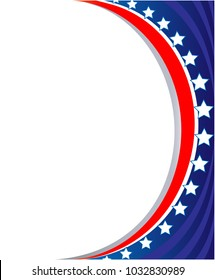 US flag wave frame with empty space for text.