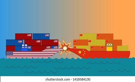 US goods ship crashed by China goods ship on the sea