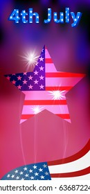 US Independence Day. American flag in the form of a star. Street art. Illustration, vector for your design. Fourth of July. People's holiday