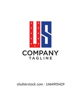 US initials logo for US company red and blue color