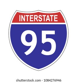 US Interstate 95 highway sign with route number and text, vector illustration.