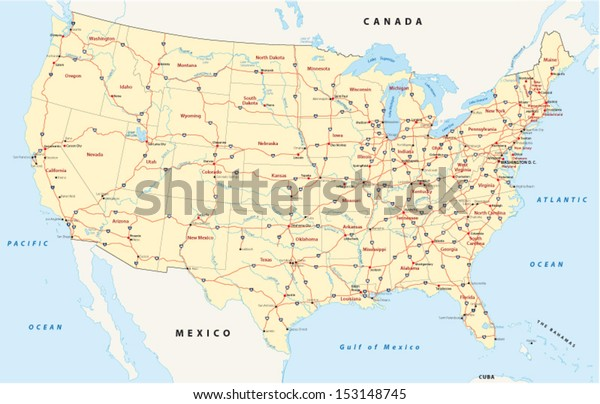 Us Interstate Highway Map Stock Vector (Royalty Free) 153148745