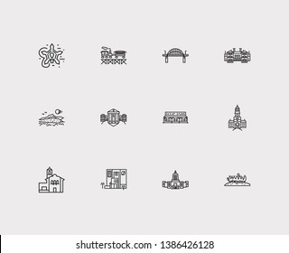 Us landmarks icons set. Maryland and us landmarks icons with vermont, nevada, rhode island. Set of sun for web app logo UI design.