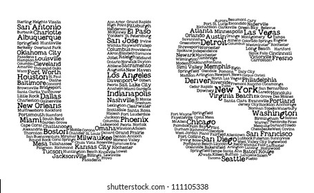 US letters with cities' names inside