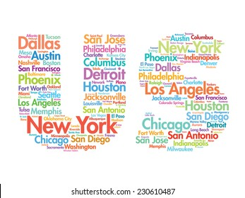 US letters with cities names words cloud, vector concept background