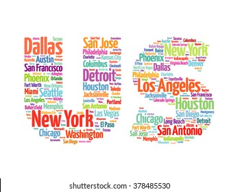US letters with cities names words cloud, concept background