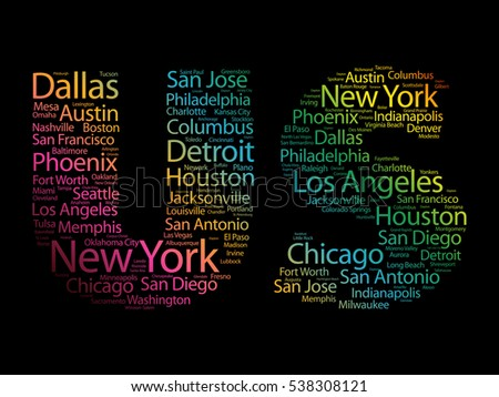us letters cities names words cloud stock vector (royalty free
