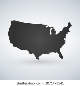 US logo or icon with USA letters across the map, United States of America. Vector illustration isolated on modern background with shadow.