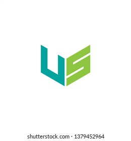 US Logo Letter Initial With Blue and Green Colors