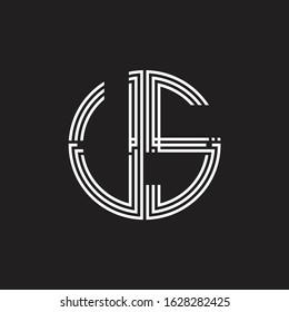 US Logo monogram triple ribbon style line design template isolated on black background