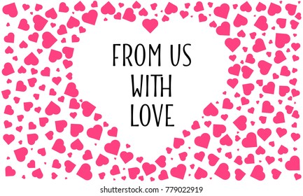 from us with love. greeting card design. love pattern seamless.