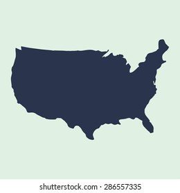 us map. blue USA map. US icon. template.