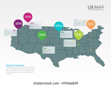 US Map Infographics design vector template illustration. Template for diagram, graph, presentation and chart. Colorful Infographic template.