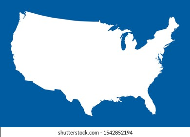 US map mainland vector illustration. Blue white. United states north american country.