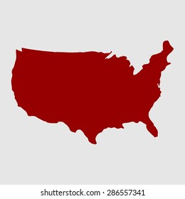 us map. red USA map. US icon. template.