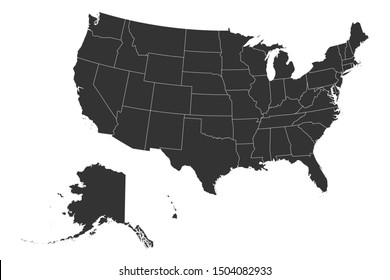 US map silhouette with boundaries vector illustration. Geography, american.