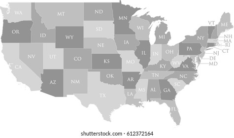 US Map with State Name Postal Abbreviation Labels