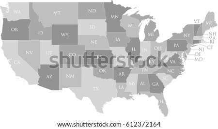 Us Map State Name Postal Abbreviation Stock Vector Royalty Free