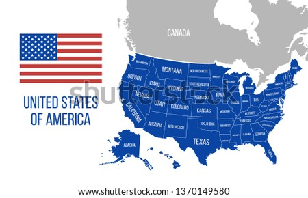 US Map State Names Isolated On Stock Vector (Royalty Free ...