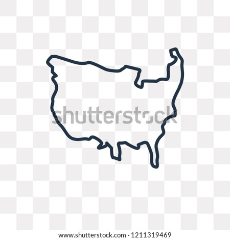 Us Map Vector Outline Icon Isolated Stock Vector Royalty Free - Us-map-transparent-background