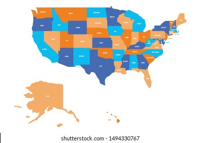 US map. Vector map of USA, United States of America.