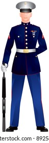 US Marine Corp Blue Dress Uniform, Honor Guard with M16 rifle