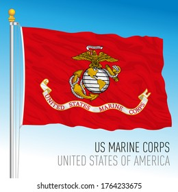 US Marine Corps official flag, United States, vector illustration