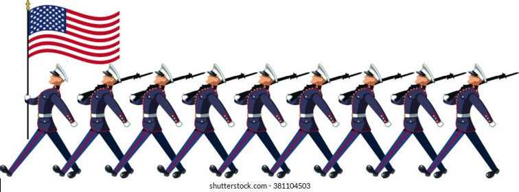 us marines soldiers marching with stars and stripes