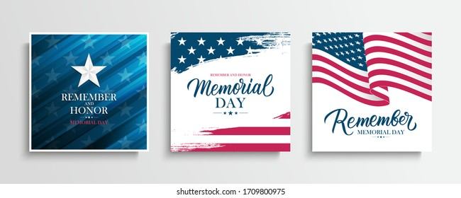 US Memorial Day greeting cards set with United States national flag, hand drawn lettering and silver star. Remember and honor. USA national holiday vector illustration.