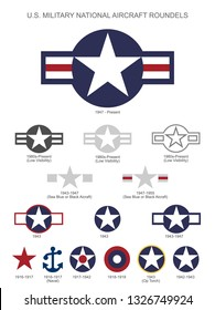 U.S. Military National Aircraft Star Roundels, insignias from 1916 to present, isolated vector illustration