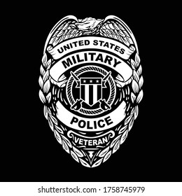 U.S. Military Police Veteran Badge Vector Illustration