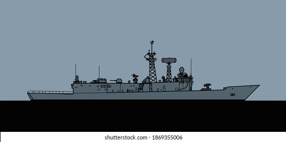 US Navy Oliver Hazard Perry-class guided-missile frigate. Vector image for illustrations and infographics.