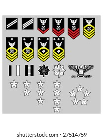 US Navy rank insignia for officers and enlisted in vector format