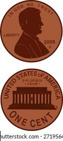 US penny illustration.