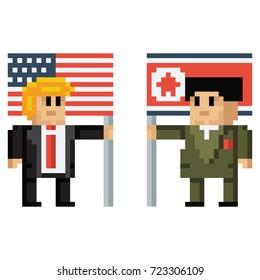 US President Donald Trump and North Korean Leader Kim Jong-Un Holding Flags Vector Pixel Art