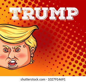 US president Trump on poster illustration- January 12, 2018