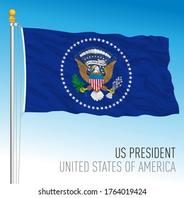 US Presidential official flag with seal, United States of America, vector illustration