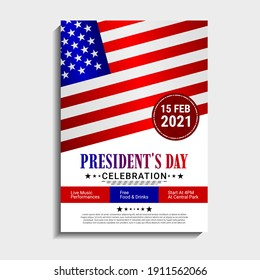 US Presidents Day template design. It is suitable for posters, banners, flyers, invitations, advertising. Vector illustration